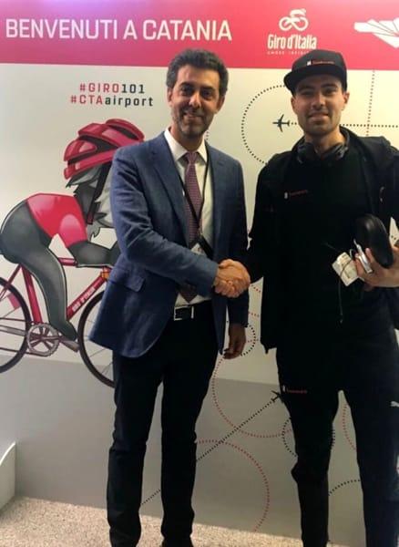 SAC, Nico Torrisi con il ciclista Tom Dumoulin, 070518
